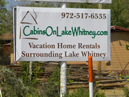 Cabins on Lake Whitney Billboard